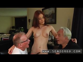 Young student old teacher and old man plays with young pussy and old