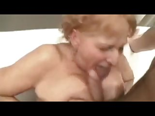 Dirty older woman pegs young guy