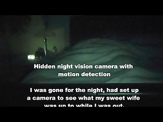 Hidden night vision camera caught wife masturbating humping riding
