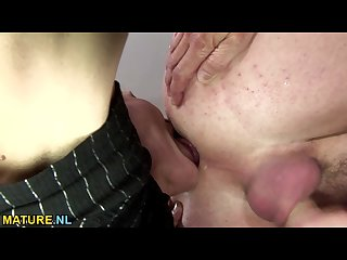 Hairy brunette mature gets anal creampied