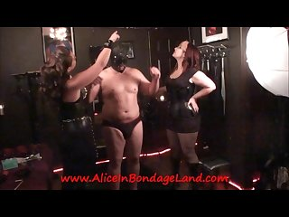 Nipple pinching bondage sadistic mistress femdom threesome
