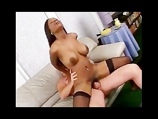 Caramel gives a white cock a great fuck