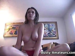 Busty brunette jennifer fingering her pussy