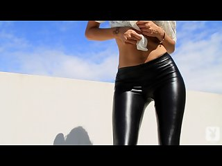 Playboy britany madisen touch me shiny black leggings