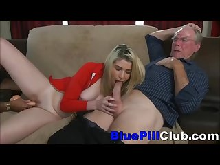 Teenage slut dildoed then riding very old grandpa