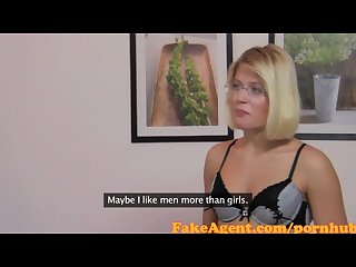 Fakeagent blonde secretary gets a face full of spunk in casting interview