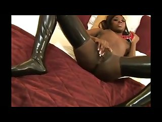 Latex ebony masturbation