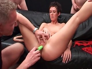 Short haired whore fucked in ass in orgy