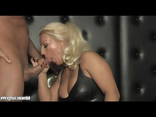Dirty blonde cum slut mistress sucks and fucks slaves big cock in dungeon