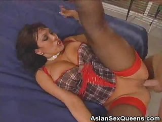 Horny asian gets her pleasure door fucked