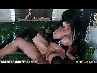 Joslyn james loves to be shared while in her Halloween costume