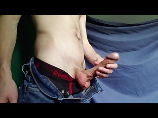 Teasing and stroking my cock in jeans