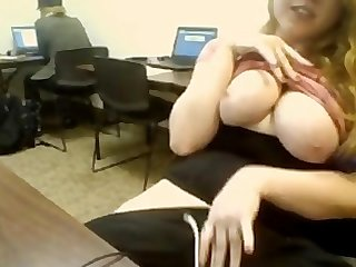 Big tit girl flash in computer room