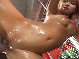 Hina otsuka gets slippery and rides cock uncensored
