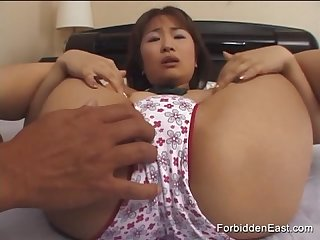 Cute oriental student in pleated skirt has pussy and ass licked and teased