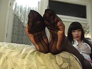 Beautiful fully fashioned stockings feet