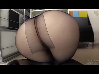 Hairy japanese office lady in miniskirt Upskirt pantyhose no underwear