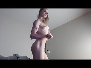 Skinny girl flexing her sexy muscles