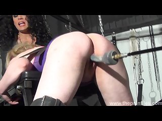 Bizarre lesbian toys domination of suffering Amber west in fucking machine