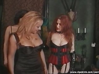 Mistress in stockings has fun with her broads