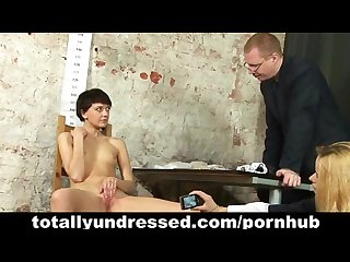 Young naked secretary goes through job interview