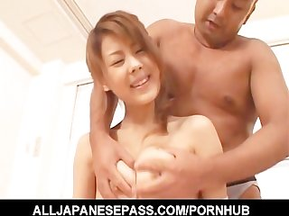Sakurako legs spread wide as she takes a big cock deep in her twat