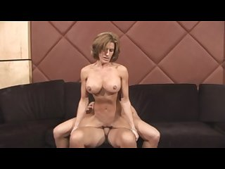 Brunette MILF with perky tits sits on dude\'s stiff pole
