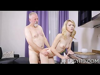 Pretty young gal fucked by old man