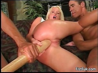 Blonde chick enjoying in fat dildo pussy