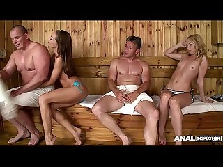 Anal Threesome in the sauna for sophie lynx lina napoli