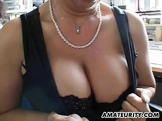 Busty amateur Milf home action with facial