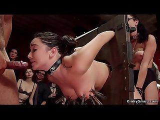 Brunette slave gets black cock up ass