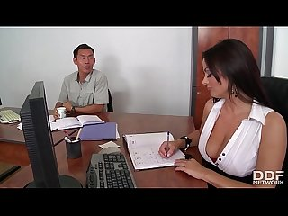 Blowjob celebration at the office fills Sheila Grant's mouth with spunk