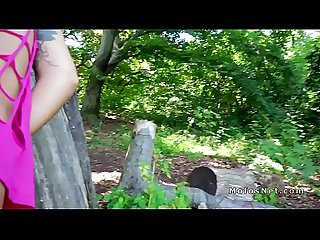 Hungarian babe bangs doggy style in woods
