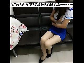 WWW.WEBCAMBON.GA - Masked asian in school uniform masturbating on school bench