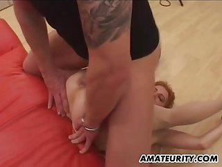 German Amateur milf group Sex action with facials