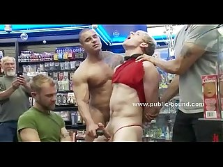 Kinky hunks fuck slave in gay group sex