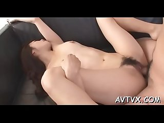 Gorgeous japanese babe receives coarse doggystyle drilling