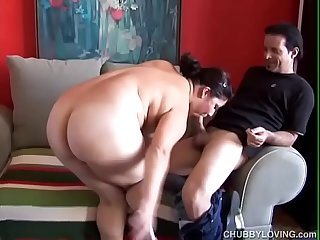 Super cute chubby brunette loves sucking cock and eating cum