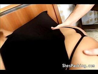 Busty shemale gets stuffed with a cock