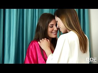 Lesbo sleepover leads to intense fingering with Jenny Appach & Sindy Black