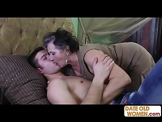 Hairy old granny gets facial