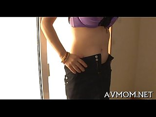 Taut asian mom pleasures herself