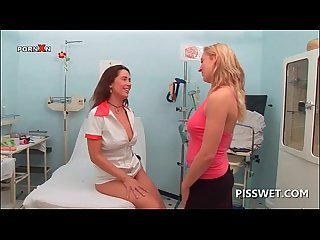 Blonde hottie gets her cunt licked by piss lover nurse