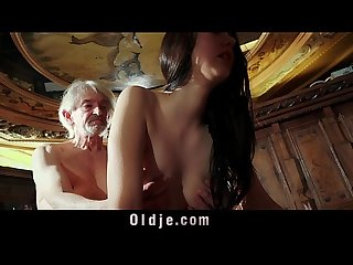 Sweet Young girl seduces naive grandpa for cumshot taste