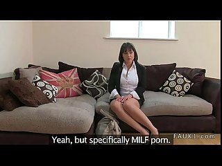 Brunette in stockings fucks fake agent