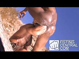 Amazing fisting 3some outdoors Arabian