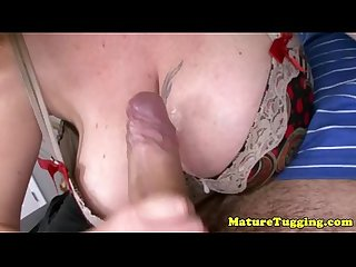 Hugetit milf wanking dick until he blows