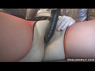 British milf fucked with dildo pov