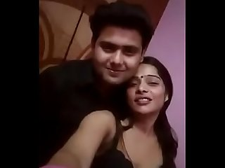 Horny wife romancing with husband on selfie video